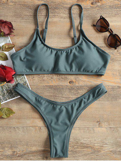 shop Ribbed Bralette Cheeky Bikini Set - GREEN M Mobile