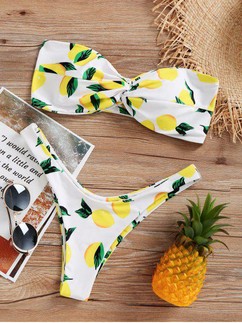 buy Lemon Print High Cut Bikini Set - WHITE L Mobile