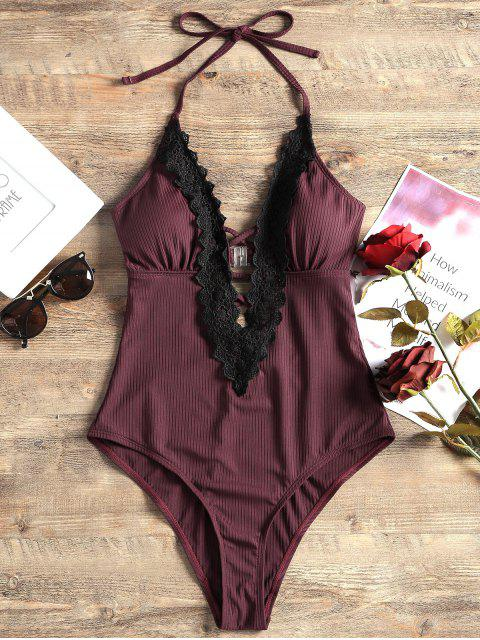 new Lace Panel Halter One Piece Swimsuit - WINE RED L Mobile