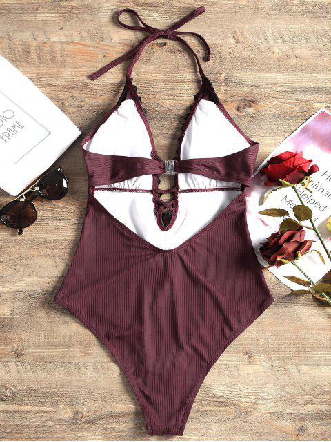 hot Lace Panel Halter One-piece Swimsuit - WINE RED XL Mobile