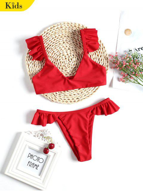 outfits Frilled Hem Cute Kid Bikini Set - RED 8T Mobile
