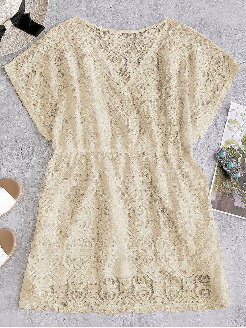 Vestido de encaje con cordones - Albaricoque Talla única Mobile