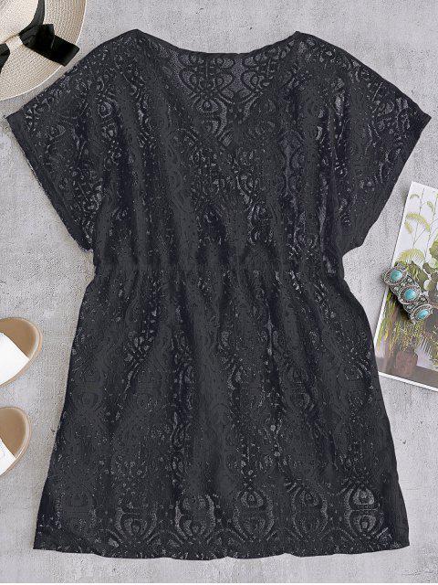 Vestido de encaje con cordones - Negro Talla única Mobile