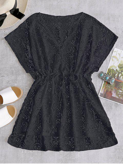 shops Drawstring Lace Cover-up Dress - BLACK ONE SIZE Mobile