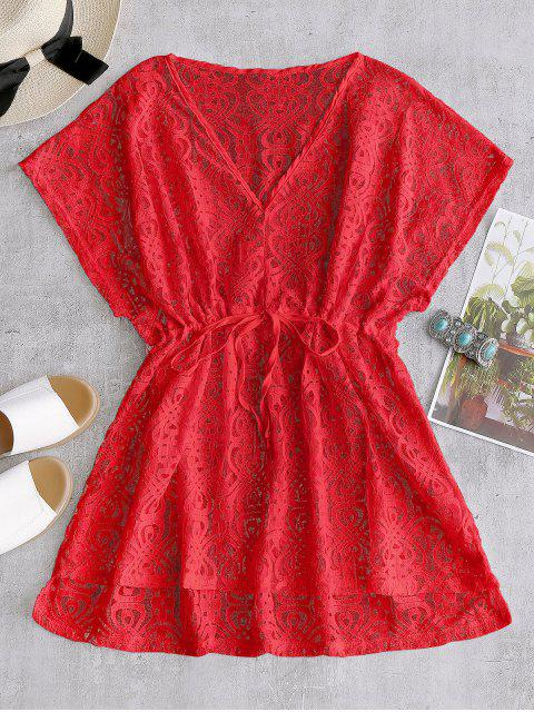 outfits Drawstring Lace Cover-up Dress - RED ONE SIZE Mobile