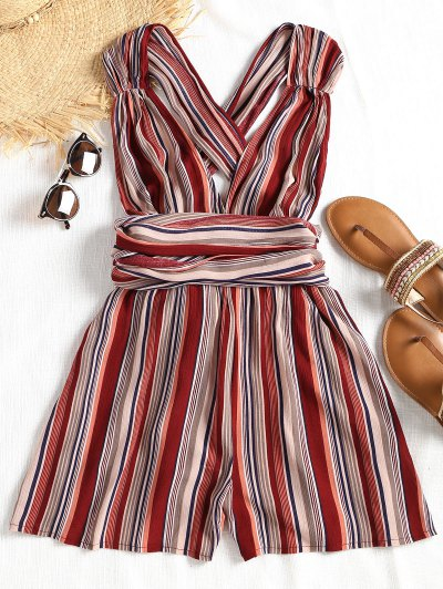 Self Tie Cross Back Striped Romper - Stripe M