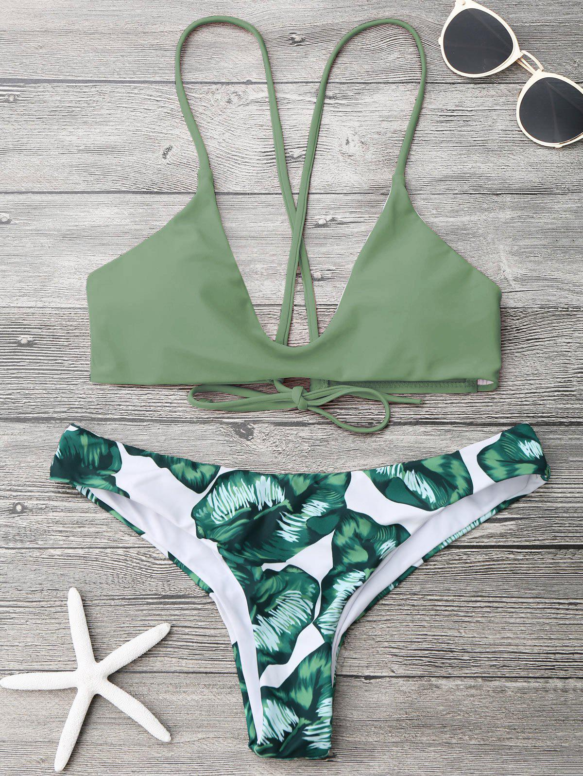Palm Leaf Cami Bralette Bikini Set 211967005