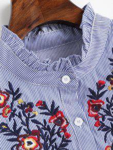 S Azul Con Parches Vestido Volantes Florales Volantes Y Con Rayas A vxRzwH1q