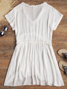 Vestido V M Cuello En Con Blanco Rizado Playa De 1TgxqnrF1
