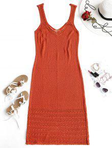 فستان طويل بياقة عميقة مزين بالكروشيه - قرميد احمر