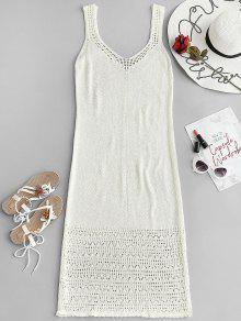 فستان طويل بياقة عميقة مزين بالكروشيه - أبيض