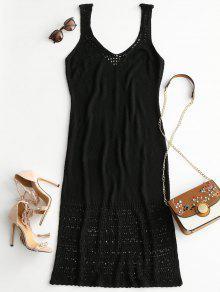 فستان طويل بياقة عميقة مزين بالكروشيه - أسود