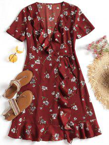 فستان بل في الخصر رقيه  في الأزهار - احمر غامق M