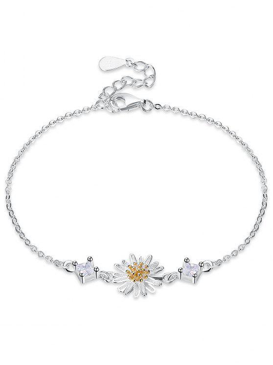 Rhinestone Silver Daisy Flower Bracelet - Prata