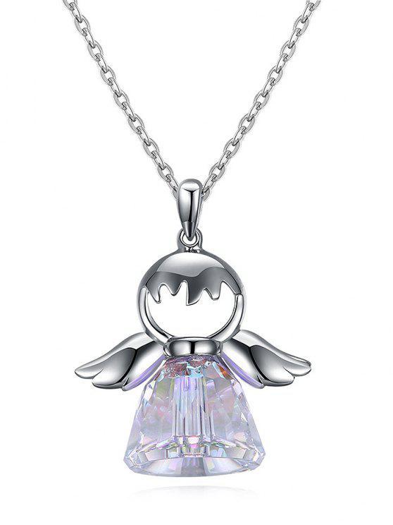 Künstliche Kristall Sterling Silber Engel Halskette - Silber