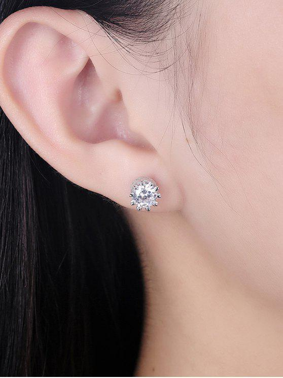 Pendientes de botón de plata esterlina con diamantes de imitación - Plata