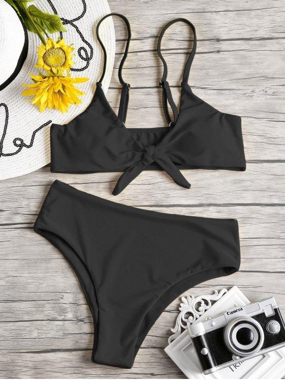 Knoten Gepolstertes Bikini Set - Schwarz L