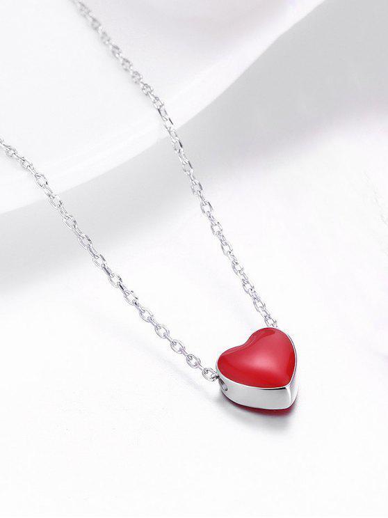 Colar do coração do amor minúsculo da prata esterlina - Prateado e Vermelho