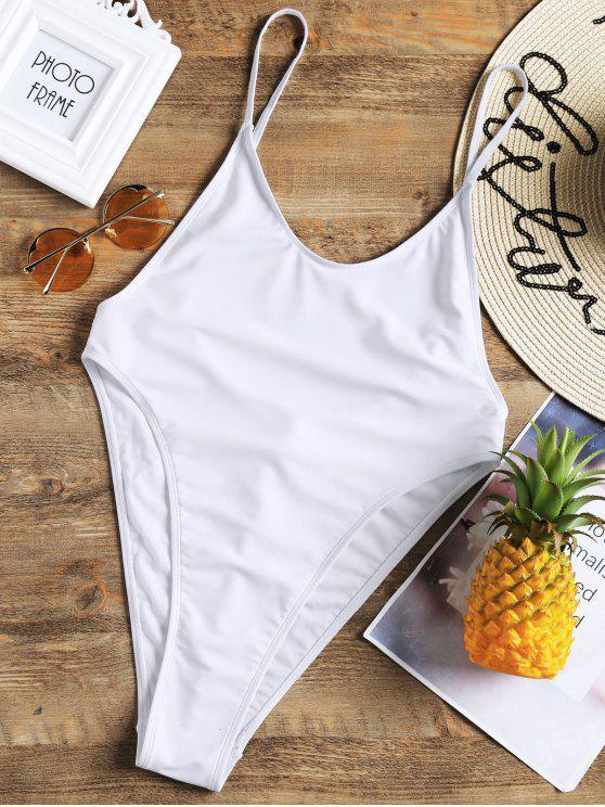 unique Bralette High Cut One Piece Swimsuit - WHITE S