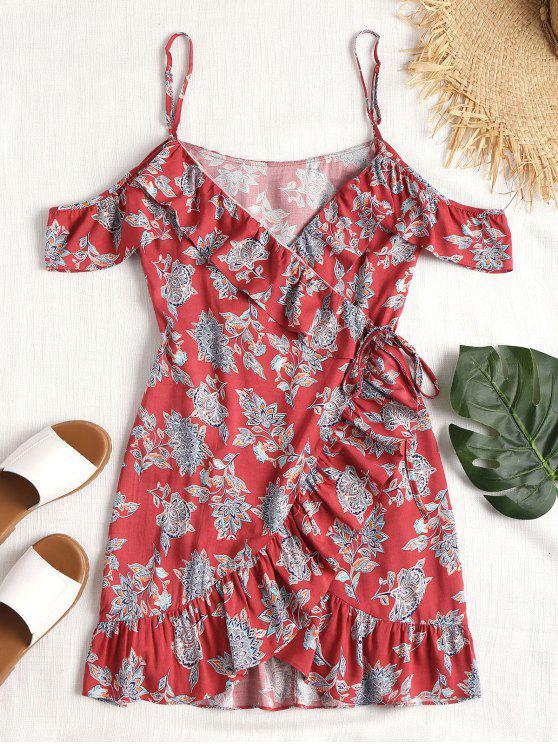 women's Ruffles Cold Shoulder Wrap Dress - RED M
