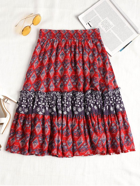 shop Flower Ruffles A Line Skirt - RED XL