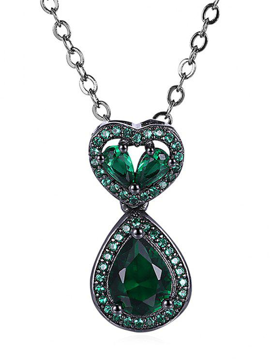 Water Drop Heart Openwork Faux Onyx Chain Necklace - Verde