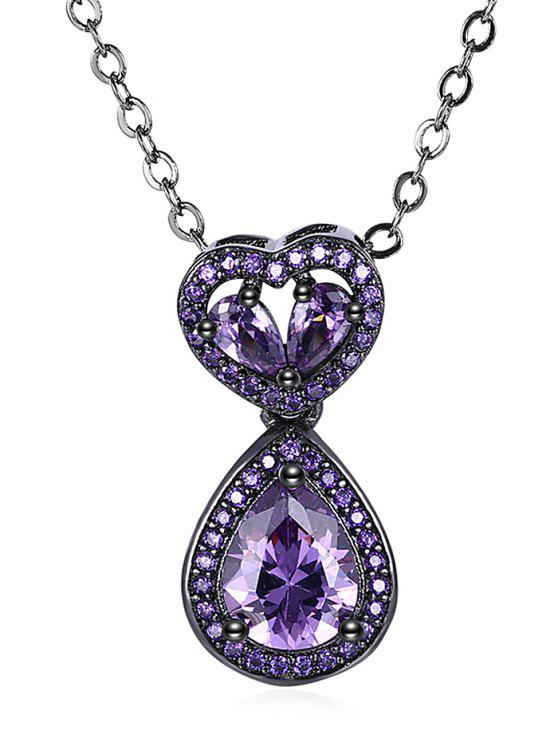 Water Drop Heart Openwork Faux Onyx Chain Necklace - Roxo