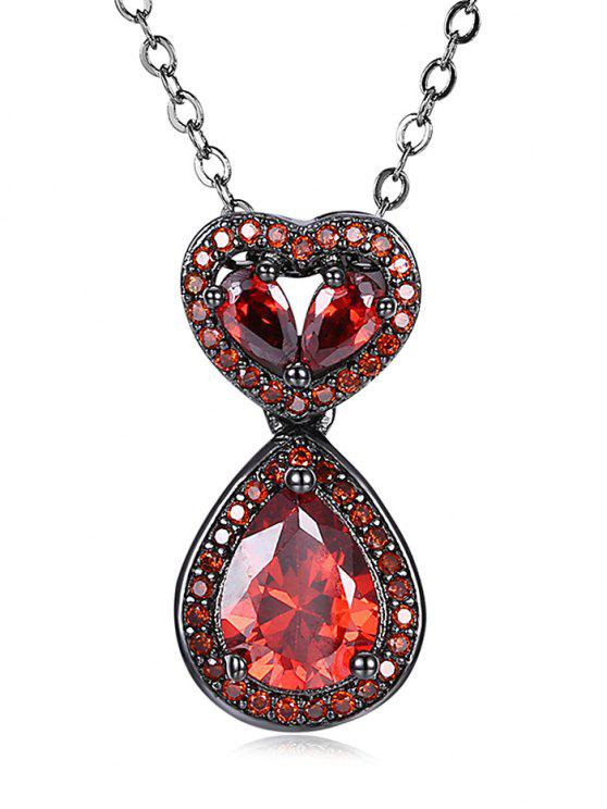 women Water Drop Heart Openwork Faux Onyx Chain Necklace - RED