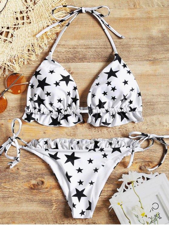women's Stars Ruffles String Bikini Set - WHITE S