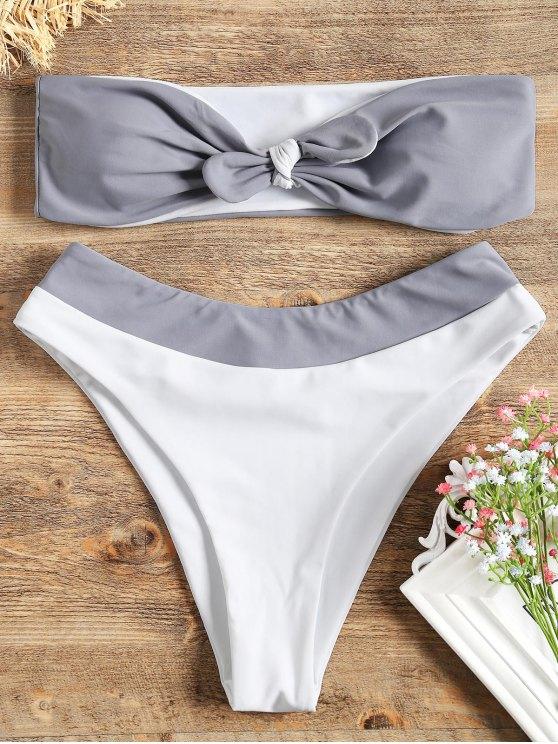 Bikini A Fascia Bicolore Con Nodo Frontale - Grigio e Bianco L
