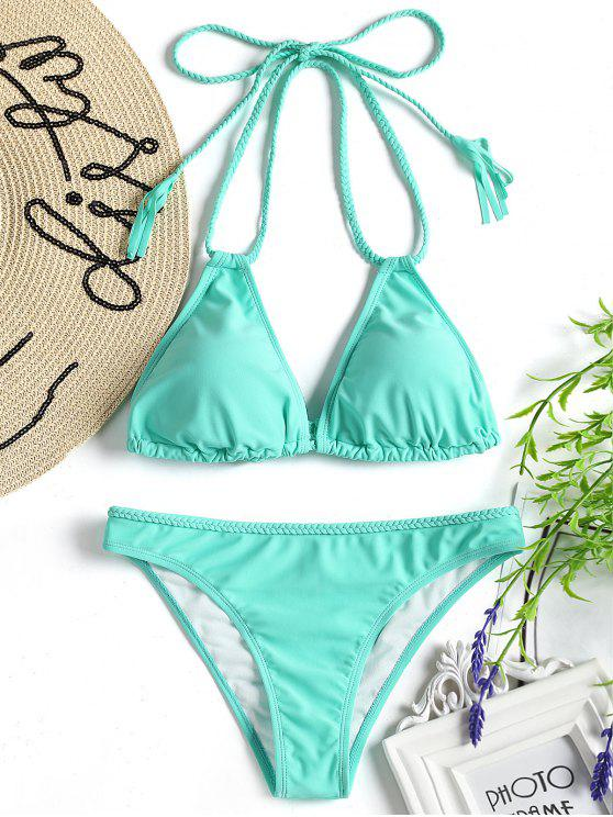 trendy Braided Halter Bikini Swimwear - TURQUOISE GREEN S