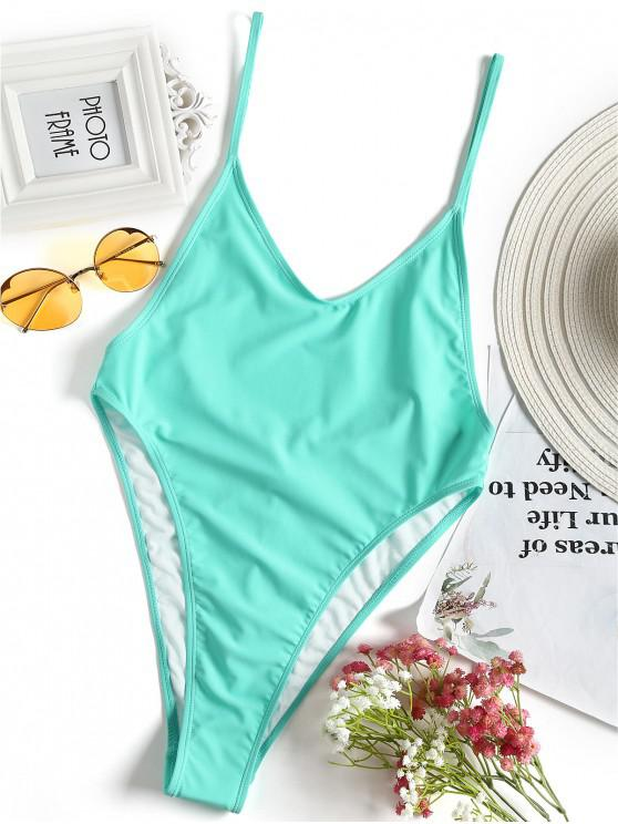 new Bralette High Cut One Piece Swimsuit - TURQUOISE GREEN S