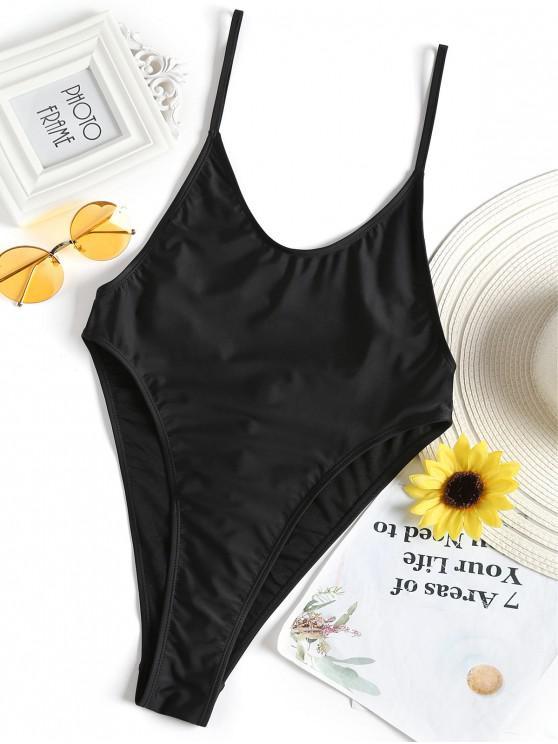 ladies Bralette High Cut One Piece Swimsuit - BLACK S