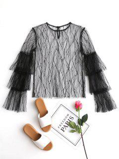Tiered Sleeve Sheer Mesh Blouse - Black M