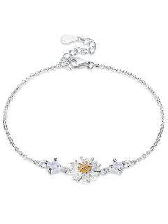 Pulsera De Flor De Margarita De Diamantes De Imitación De Plata -