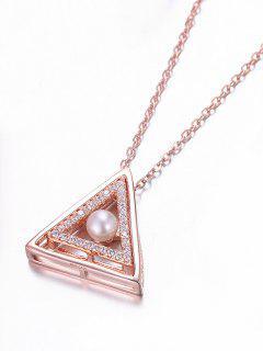 Collier En Argent Avec Pendentif En Forme De Triangle En Strass Et Une Perle Fantaisie  - Rose D'or