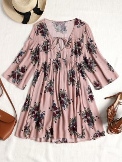 Floral Tied Front Tunic Dress - Pink L