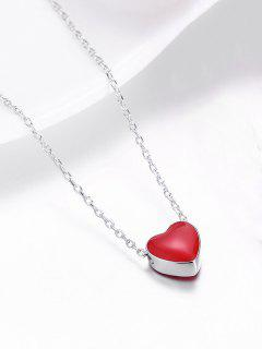 Sterling Silver Tiny Love Heart Necklace - Silver And Red