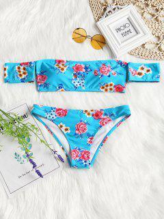 Off Shoulder Short Sleeve Floral Bikini Swimwear - Lake Blue S