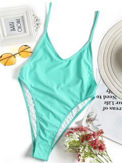 Bralette High Cut One Piece Swimsuit - Turquoise Green S