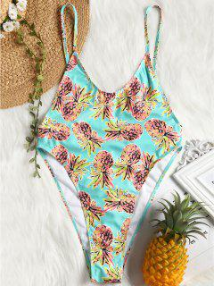 Bralette High Cut Pineapple Print One Piece Swimsuit - Turquoise Green Xl