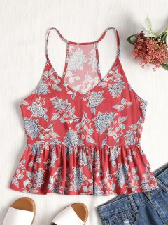 Ruffle Racerback Floral Tank Top - Red L