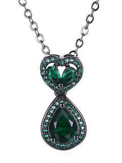 Water Drop Heart Openwork Faux Onyx Chain Necklace - Green