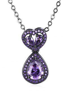 Water Drop Heart Openwork Faux Onyx Chain Necklace - Purple