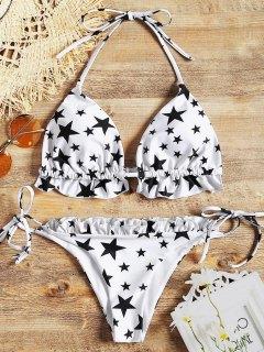 Ensemble Bikini String à Volants Motif Etoiles  - Blanc M