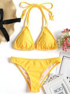 Traje De Baño De Bikini Trenzado Halter - Amarillo M