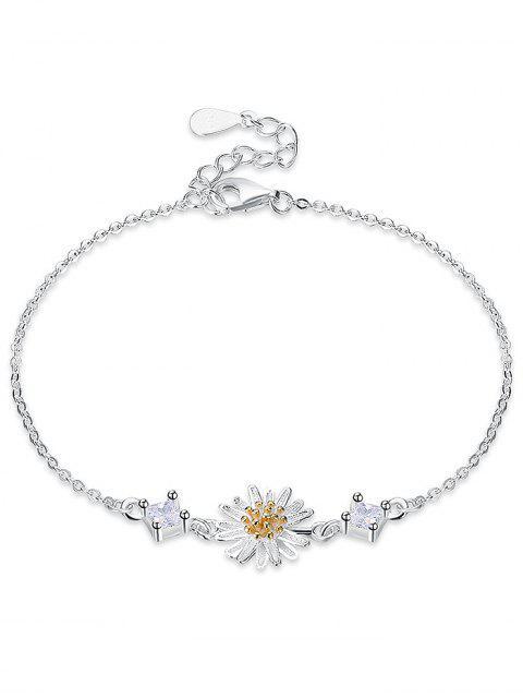 Pulsera de flor de margarita de diamantes de imitación de plata - Plata  Mobile