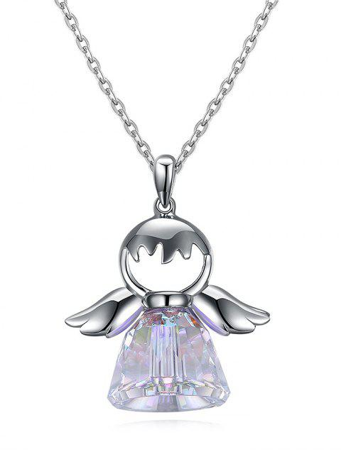 Künstliche Kristall Sterling Silber Engel Halskette - Silber  Mobile
