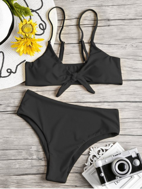 Knoten gepolsterter Bikini Set - Schwarz S Mobile