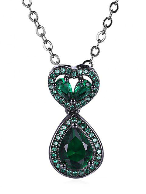 Wassertropfen-Herz Durchbrochen Faux Onyx Halskette - Grün  Mobile